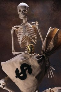Skeleton Grabbing Bags of Money